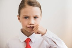 Beautiful child girl shows painted mustache Product Image 1