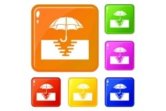 Umbrella in paddle icons set vector color Product Image 1