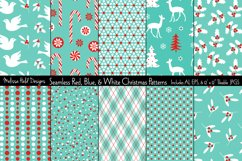 Seamless Red Blue Christmas Patterns Product Image 1