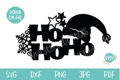 Christmas Cake Topper SVG with Santa Hat Product Image 2