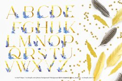 Gold letters with watercolor elements,Gold letters clipart Product Image 3