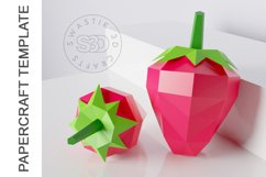 PDF Template of 3d Strawberry fruit papercraft /lowpoly SVG Product Image 4