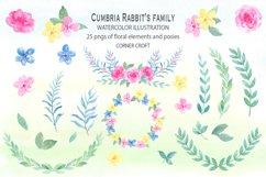 Cumbria Rabbit Family, Mum, Dad, Sisters, Watercolor Illustration  Product Image 5