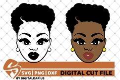2x Beauty Black Woman svg, Melanin Girl svg, Short Hair svg Product Image 1