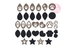 Paw Print Earring Template |60 Templates Earring svg Product Image 1