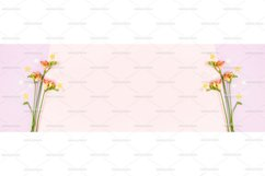 Frame made of freesia flowers and stars confetti Product Image 1