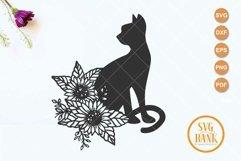 Sunflower cat svg, Floral Cat svg, silhouette cat Product Image 2