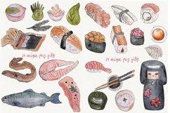 Watercolor sushi set of beautiful tasty japanese sushi Product Image 2