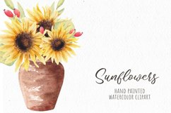 Watercolor Sunflowers Clipart, Autumn Flowers Product Image 4