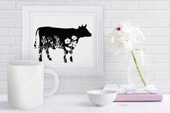 Floral Cow SVG, Flower Cow SVG Cut File, Floral Cow Clipart. Product Image 4