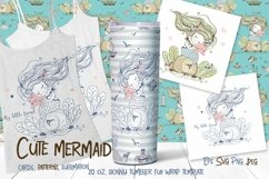 Skinny tumbler Png. Cute mermaid clipart sublimation Png Svg Product Image 1