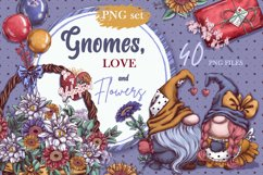 Gnomes, love and flowers. Hand-drawing clipart. Product Image 1