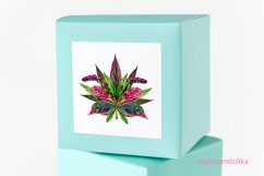 Watercolor bouquets of tropical leaves and flowers. Vintage Product Image 4