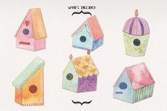 Birdhouse Sprint Clipart Watercolor Elements Pretty Product Image 2