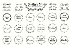 Floral wreath and flourishes set. Vector illustration Product Image 1