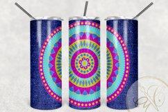 Denim and Mandala Skinny Tumbler Sublimation /Pink and Blue Product Image 2