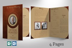 Leather Funeral Program Word Publisher Template 4 PAGES Product Image 1
