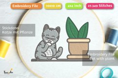 Cleaning Cat with Succulent - Embroidery File - 4x4 inch Product Image 2