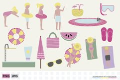 Summer pool clipart set   Family vacations at the pool Product Image 1