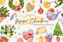 Magic Christmas. Watercolor cartoon cliparts Product Image 1