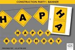 Construction party printable HAPPY BIRTHDAY banner Product Image 1