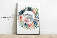 Wreath clipart Watercolor Coral Navy Flowers Frame invite Product Image 3
