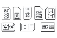 Chip phone card icons set, outline style Product Image 1