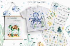 Under the sea. Watercolor clipart, frames, cards, patterns Product Image 10