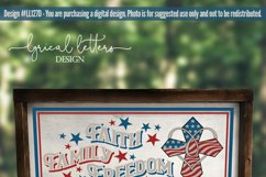 Faith Family Freedom with Cross Patriotic SVG DXF LL127D Product Image 2