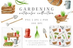 Gardening Watercolor Clipart. Spring Garden Tools PNG Set Product Image 1