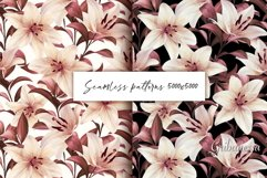 Lilies. Seamless patterns Product Image 1