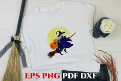 Clip art witch with broom on the moon. Sublimation. PNG Product Image 1