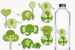 Green circus elephants illustations Product Image 1