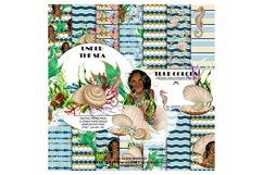 African American Mermaid Digital Paper Black Beautiful Product Image 1