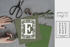 Floral frame letter E, single initial paper cut, wedding SVG Product Image 1