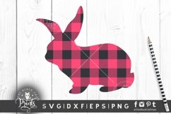 Easter Bunny SVG Easter Clipart SVG Buffalo Plaid Bunny SVG Product Image 2