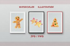 Gingerbread Clipart Sublimation design Watercolor PNG JPG Product Image 1