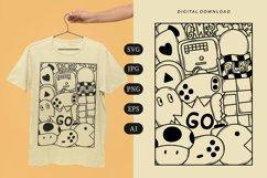 Gamer Doodle T-shirt   SVG Product Image 1