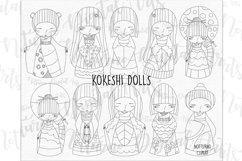 SVG Kokeshi Dolls, eps, png and jpeg format. Vector Kokeshi Product Image 1