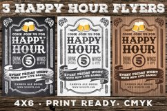 3 Vintage Happy Hour Flyers Product Image 1