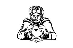 Fortune Teller Eye on Crystall Ball Woodcut Product Image 1