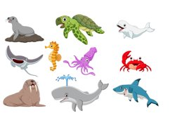 Set of Nineteen Cute Cartoon Ocean Animal Product Image 2