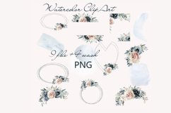 Watercolor Clipart Wedding Geometric frames Heart flowers Product Image 2