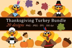 Thanksgiving Turkey Bundle Clipart, Fall, PNG, JPEG, EPS Product Image 1