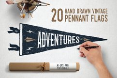20 Hand Drawn Pennant Flags Product Image 1
