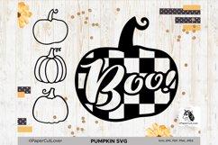 Plaid Pumpkin SVG Pumpkin Boo SVG Pumpkin Outline Checkered Product Image 1