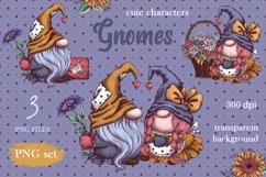 Gnomes, love and flowers. Hand-drawing clipart. Product Image 2