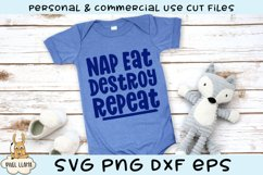 Nap Eat Destroy Repeat Kids Grunge Distress SVG Product Image 2