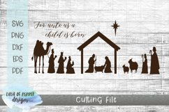 Nativity Scene SVG - Manger SVG - Religious Christmas SVG Product Image 1