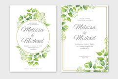 Green leaves wedding invitations set Product Image 6